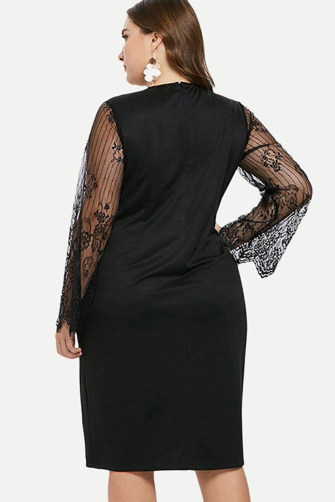Plus Size Chic See Through Bell Sleeve Dress