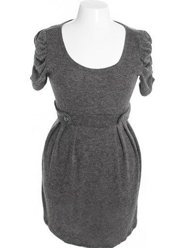 Plus Size Adorable Soft Ruffled Grey Dress