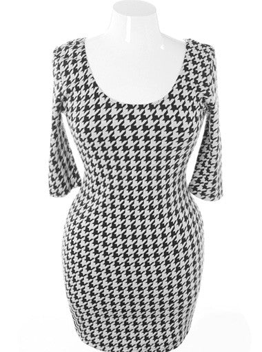 Plus Size Classic Houndstooth Bodycon Knit Dress