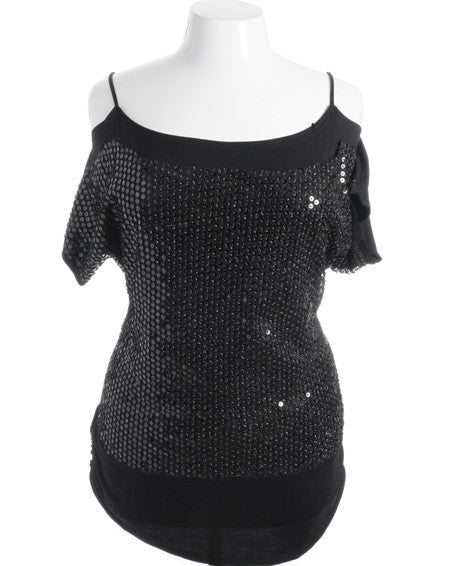 Plus Size Disco Open Shoulder Bedazzled Black Top