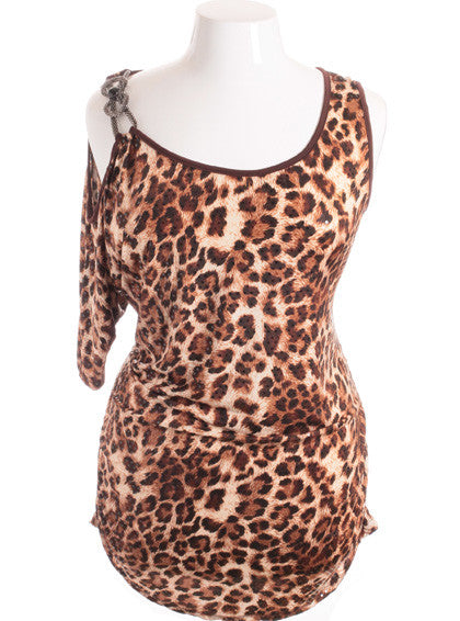Plus Size Leopard One Shoulder Jewelry Strap Brown Mini Dress