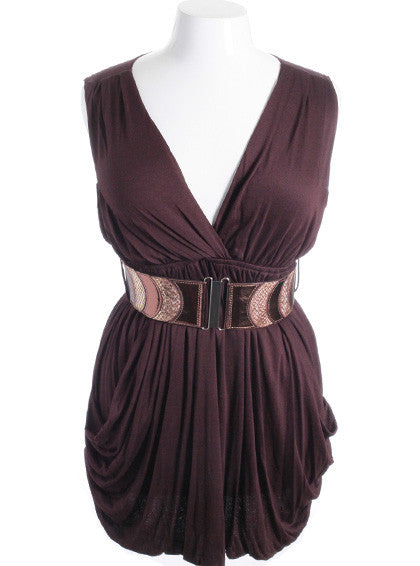 Plus Size Sleeveless Bubble Pleat Skirt Brown Mini Dress
