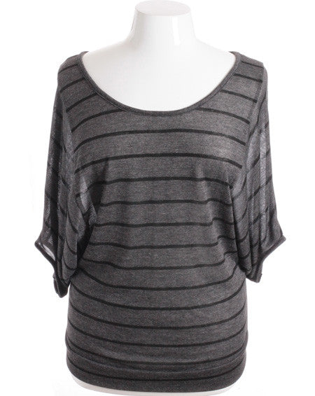 Plus Size Loose Boyfriend Stripe Baseball Grey Top