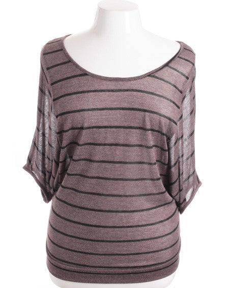 Plus Size Loose Boyfriend Stripe Baseball Taupe Top