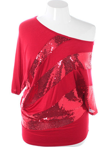 Plus Size Sparkling One Shoulder Red Mini Dress