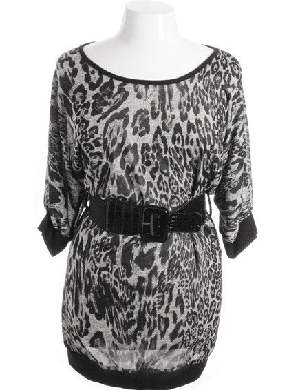 Plus Size Leopard Half Sleeve Gator Belt Black Mini Dress