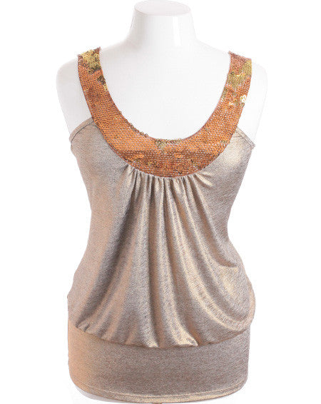 Plus Size Sparkling Dazzled Gold Tank Top