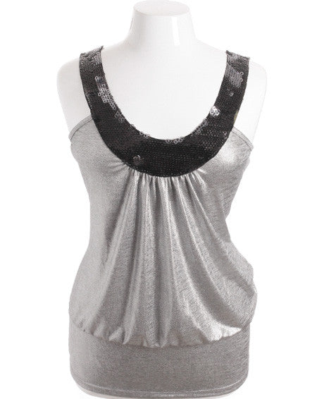 Plus Size Sparkling Dazzled Silver Tank Top