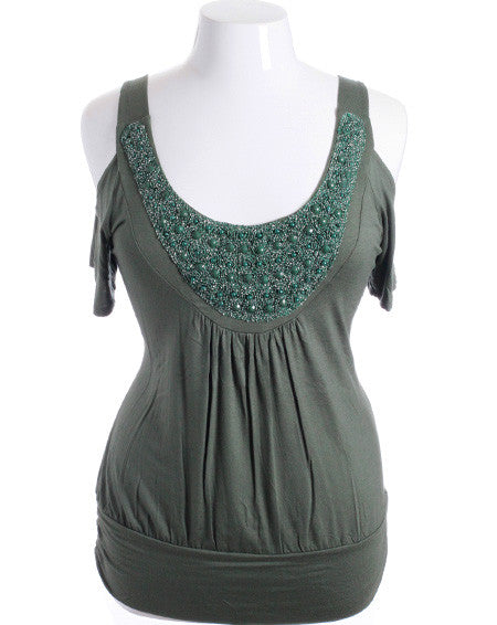 Plus Size Open Shoulder Dazzling Chest Green Top