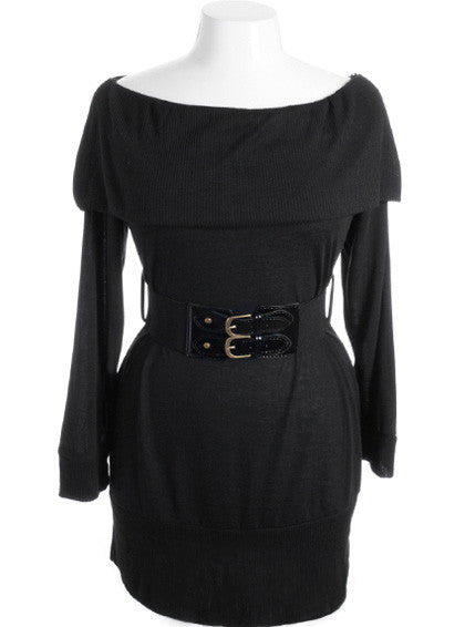 Plus Size Tiered Collar Long Sleeve Belt Black Mini Dress