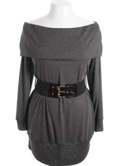 Plus Size Tiered Collar Long Sleeve Belt Grey Mini Dress