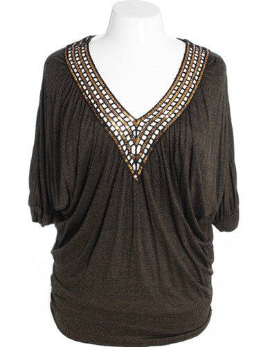 Plus Size Diva V-Neck Sparkle Gold Blouse