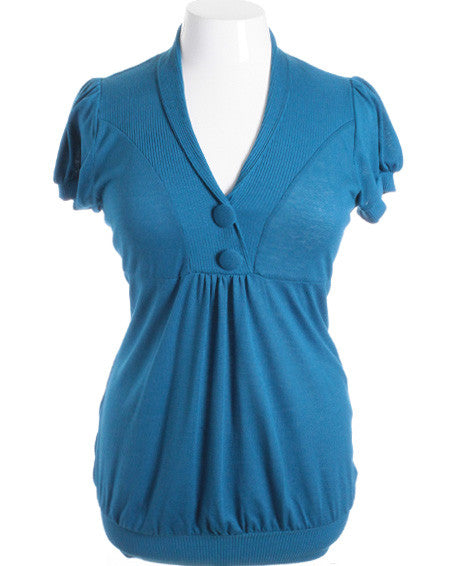 Plus Size Adorable Button Collar Teal Top