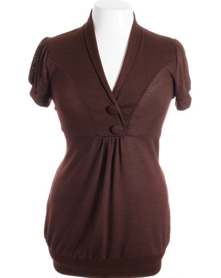 Plus Size Adorable Button Collar Brown Top