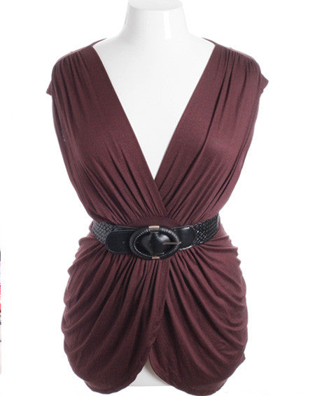 Plus Size Sexy Sleeveles Pleat Braided Belt  Brown Top