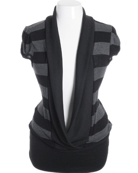 Plus Size Adorable Deep Cowl Neck Collar Stripe Black Top