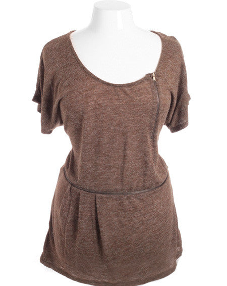 Plus Size Trendy Side Zippers Soft Texture Brown Top