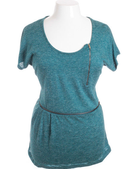 Plus Size Trendy Side Zippers Soft Texture Teal Top