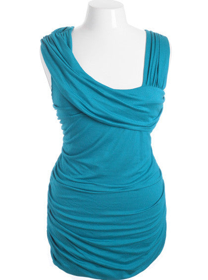 Plus Size Sexy Toga Tiered Teal Mini Dress