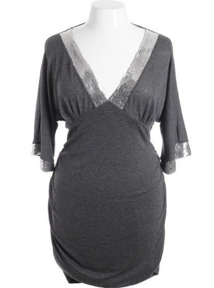 Plus Size Sparkling V Neck Collar Silver Mini Dress