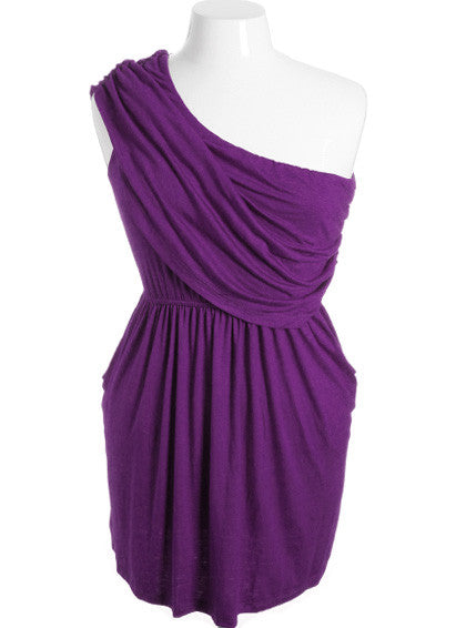 Plus Size Sexy One Shoulder Toga Purple Mini Dress