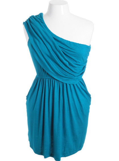 Plus Size Sexy One Shoulder Toga Teal Mini Dress