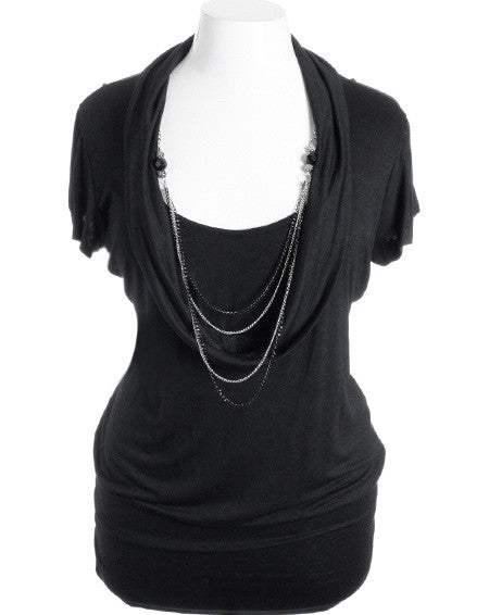 Plus Size Sexy Loose Cowl Neck Chain Necklace Black Top