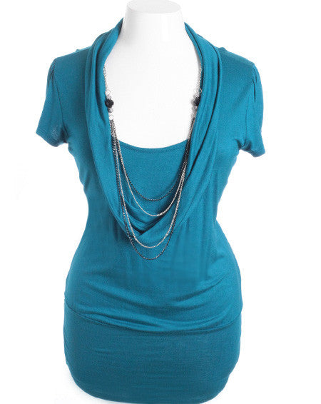 Plus Size Sexy Loose Cowl Neck Chain Necklace Teal Top