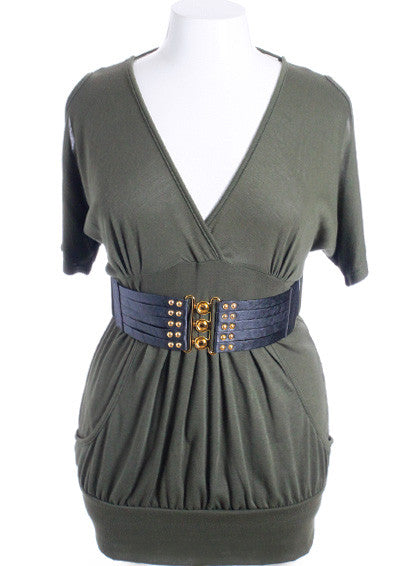 Plus Size Open Shoulder  Buckle Belt Olive Mini Dress