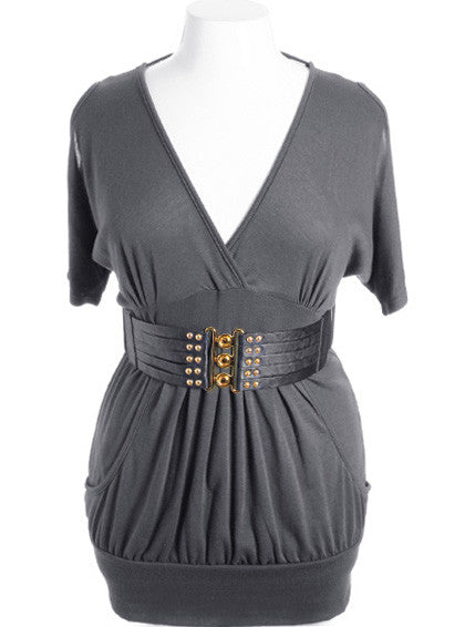 Plus Size Open Shoulder  Buckle Belt Grey Mini Dress