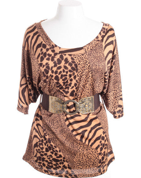 Plus Size Sexy Loose Leopard Half Sleeve Belt Brown Top