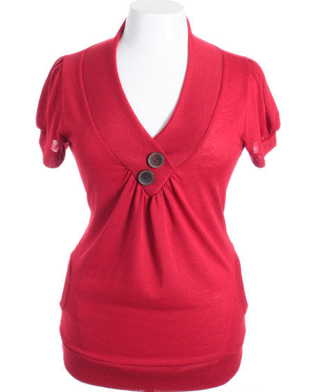 Plus Size Adorable Wooden Buttons Red Top