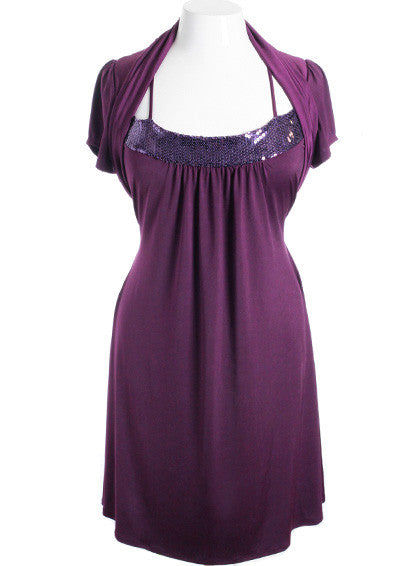 Plus Size Sparkling Perfectly Pleated Purple Shrug Dress