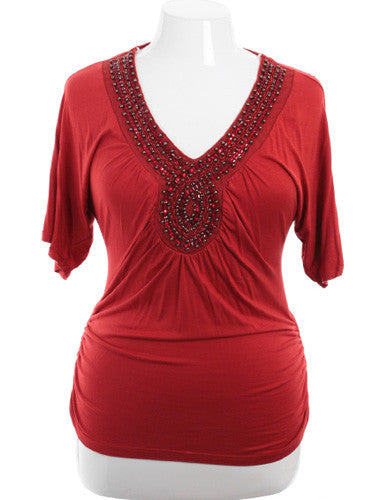Plus Size Beaded V-Neck Burnt Orange Top