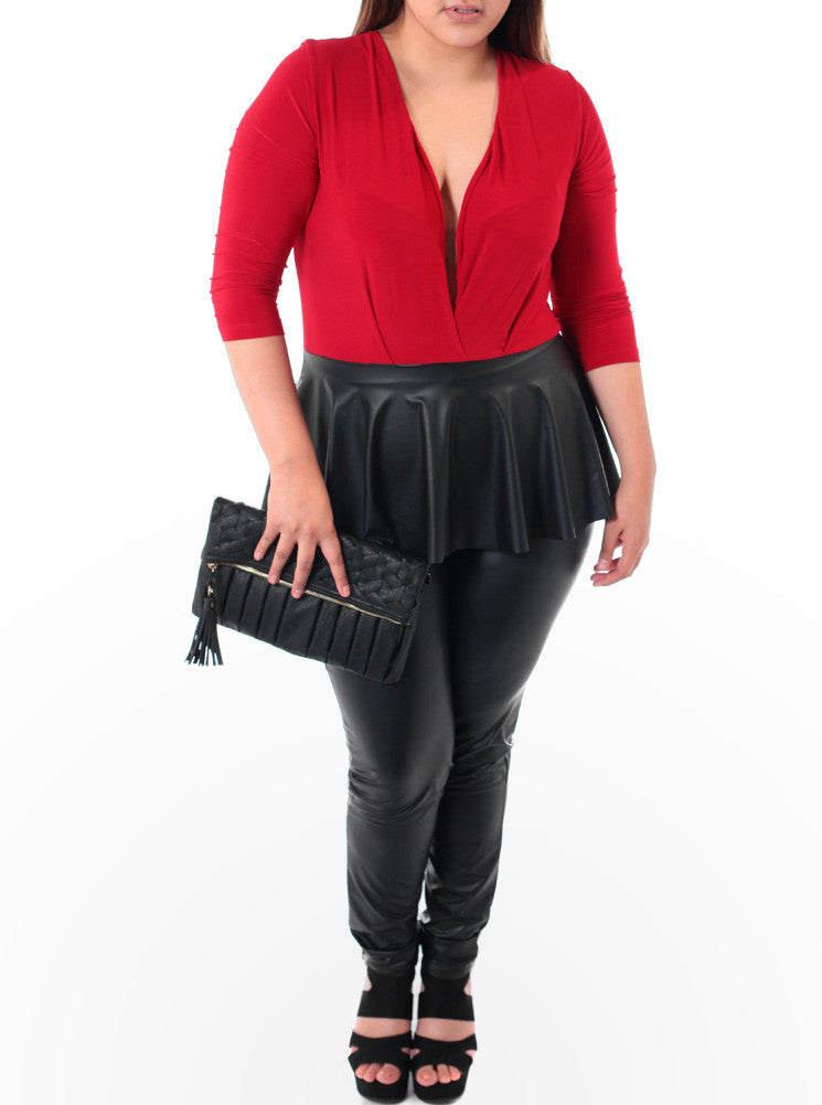 Plus Size Peplum Leather Red Jumpsuit