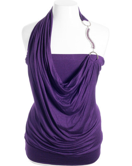 Plus Size Diamond Strap Layered Sexy Purple Halter