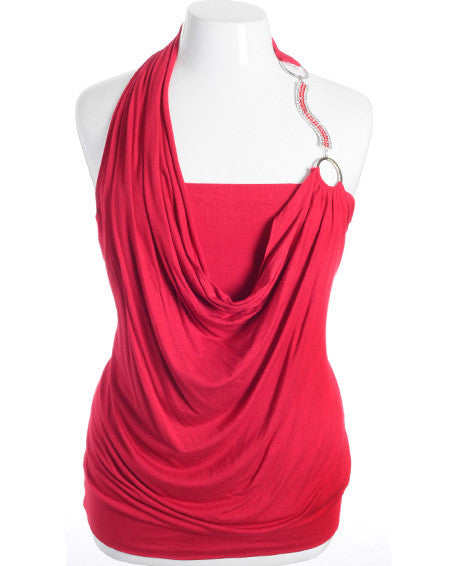 Plus Size Diamond Strap Layered Sexy Red Halter