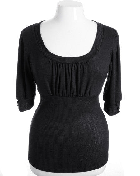 Plus Size Half Sleeve Pleat Chest Black Top