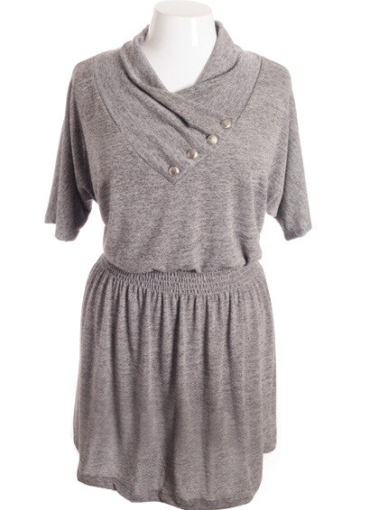 Plus Size Sexy Unique Button Collar Grey Mini Dress