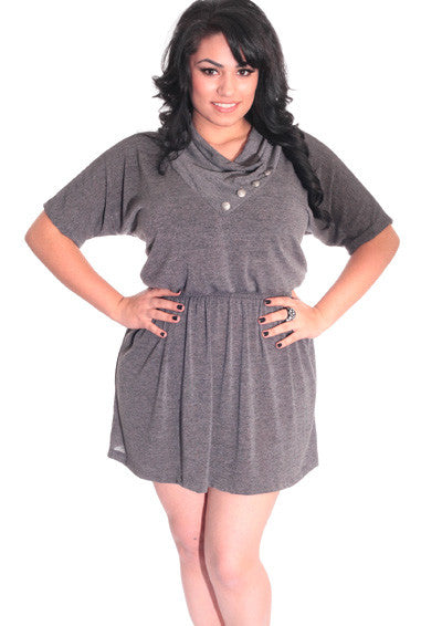 Plus Size Sexy  Button Collar Grey Mini Dress