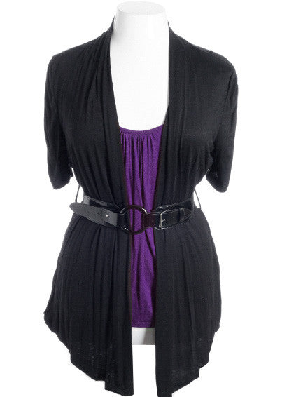 Plus Size Cardigan Layered Belt Purple Top