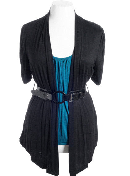 Plus Size Cardigan Layered Belt Teal Top