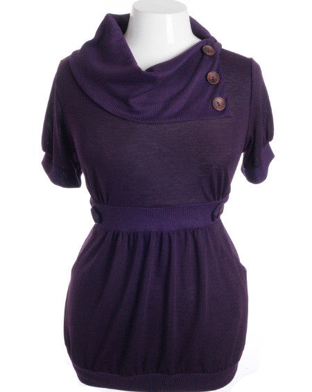 Plus Size Designer Layered Collar Button Purple Top