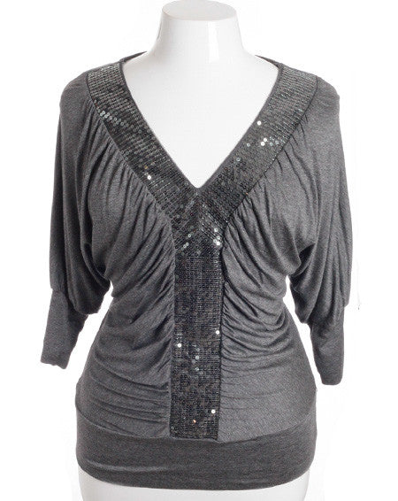 Plus Size Sexy Dazzling Half Sleeve Silver Club Top
