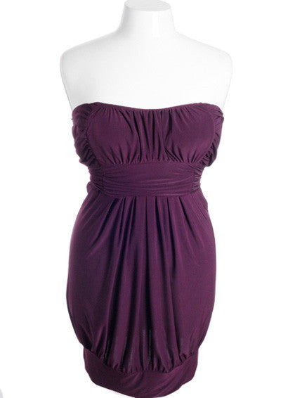 Plus Size Sexy Pleated Bubble Purple Tube Dress
