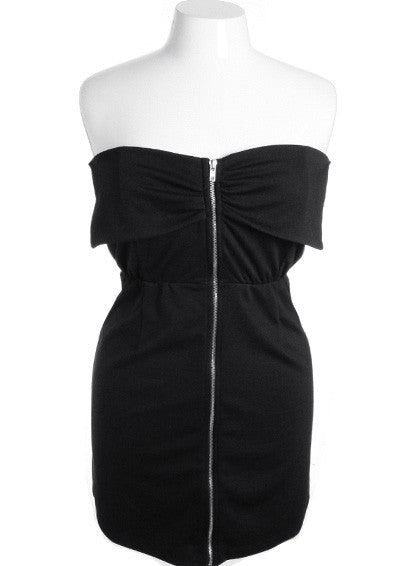 Plus Size Adorable Tiered Zip Up Black Dress