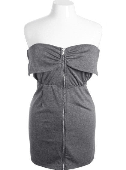Plus Size Adorable Tiered Zip Up Grey Dress