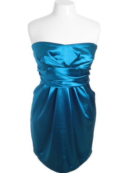 Plus Size Diva Satin Sexy Blue Tube Dress