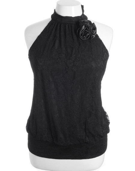 Plus Size See Through Lace Rose Black Choker Halter