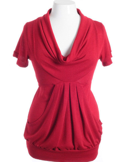 Plus Size Cowl Neck Bubble Pleat Red Top